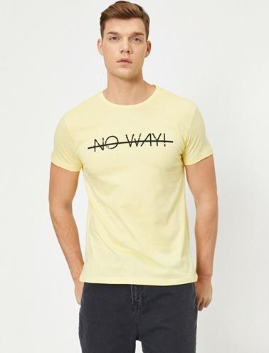 Koton Yazili Baskili T-Shirt Sarı